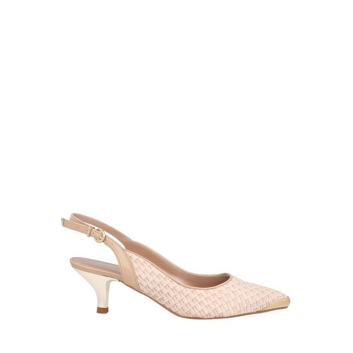 Image for Beige leather trim weave slingbacks