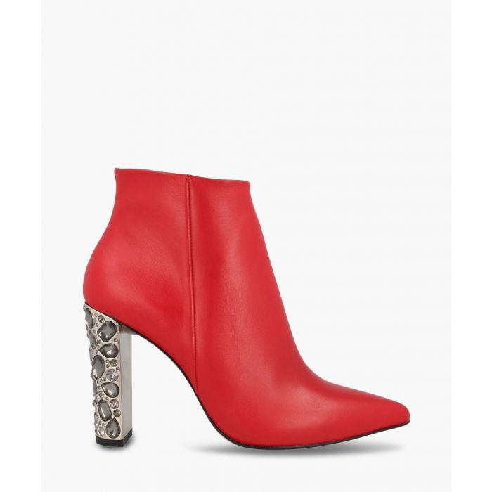 Image for Red leather embellished ankle boots