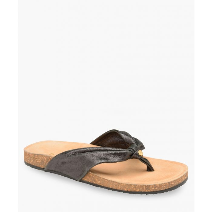 Image for Black leather thick Y sandals