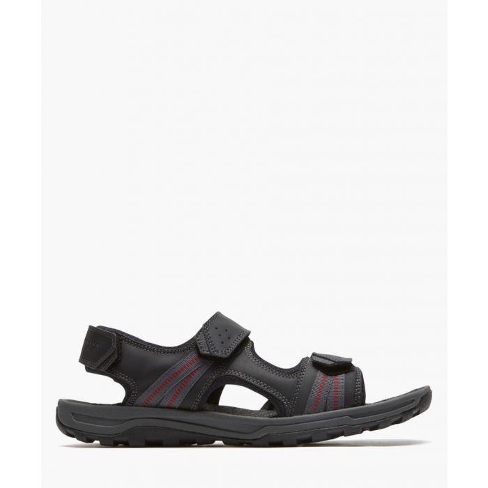 Image for TT black leather 3 strap sandals