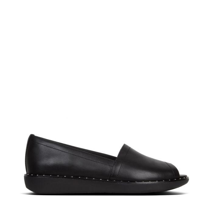 Image for Nadia black leather slip-ons