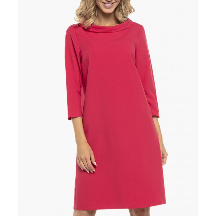 Image for Raspberry three-quarter sleeve boat neck dress