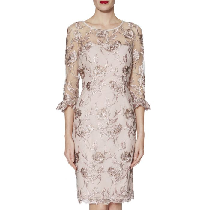 Image for Denise pink and gold-tone embroider dress