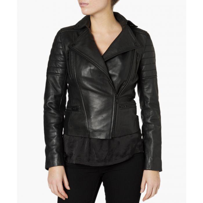 Image for Hudson black leather biker jacket