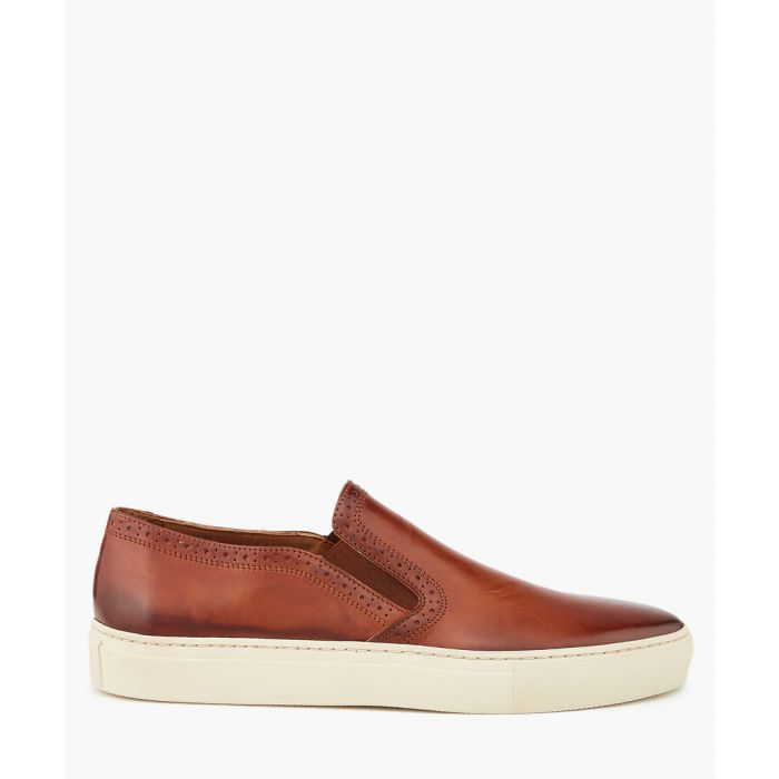 Image for Tan leather perforated slip-ons