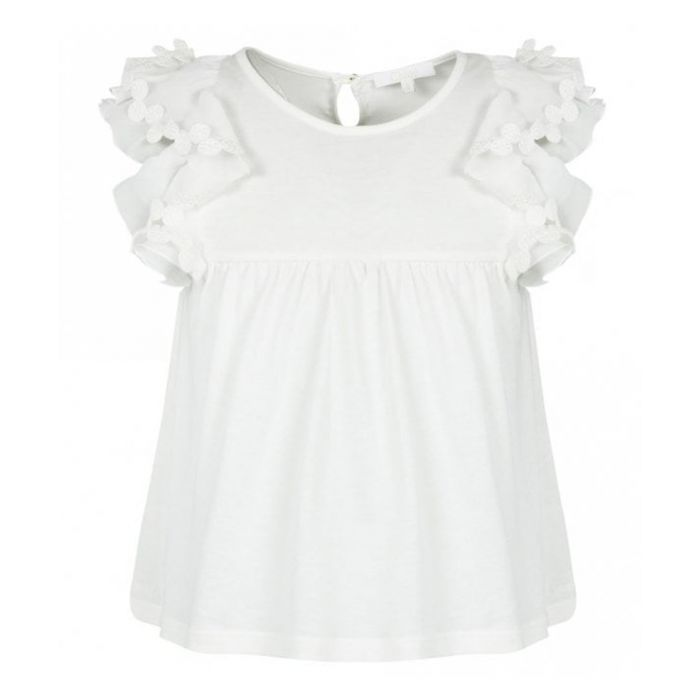 Image for White pure cotton frill sleeve shirt