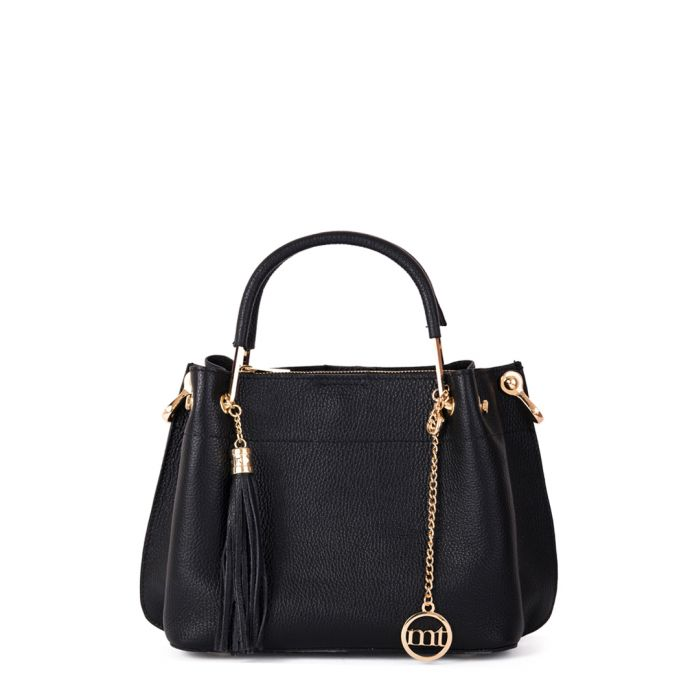 Image for black leather tassel grab bag