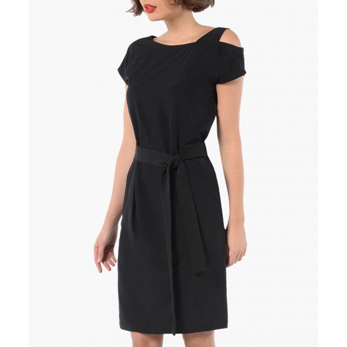 Image for Black short sleeve cold-shoulder dress