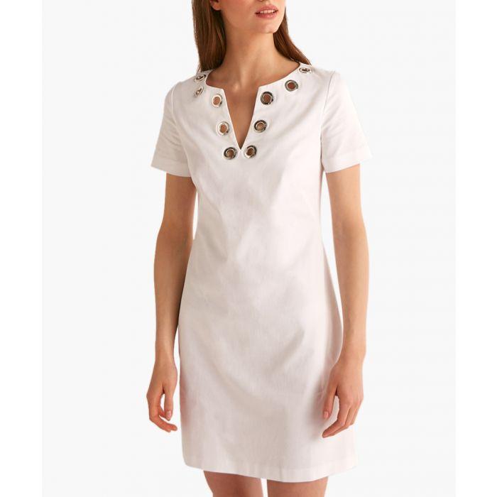 Image for White cotton embellished V-neck dress