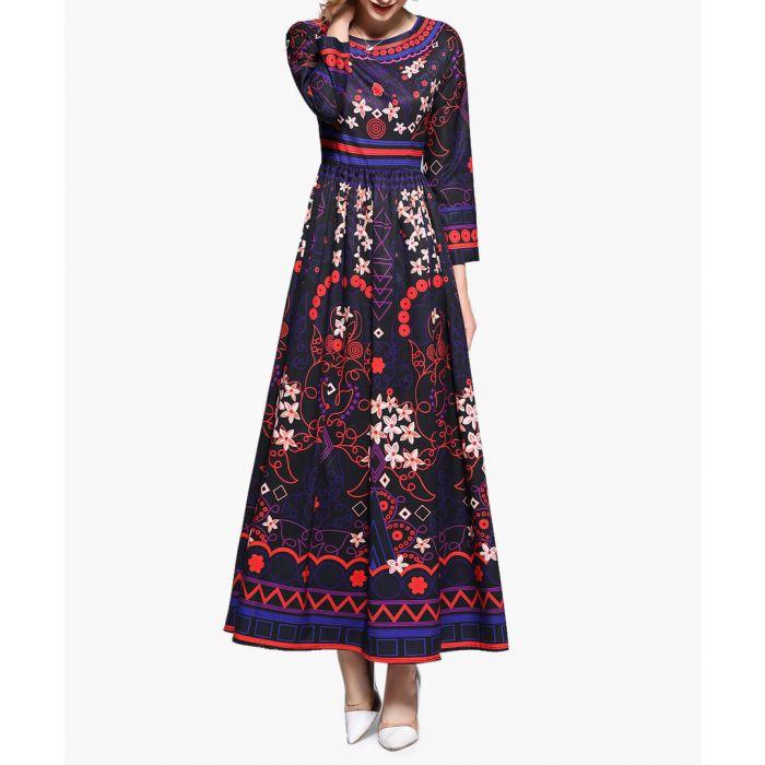 Image for Aqua & pink print wide collar maxi dress