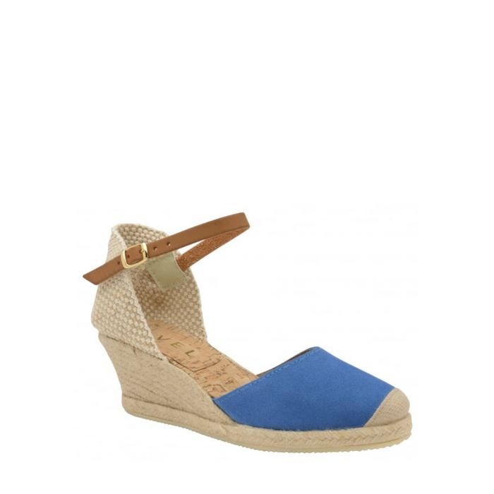 Image for Etna blue leather wedge sandals