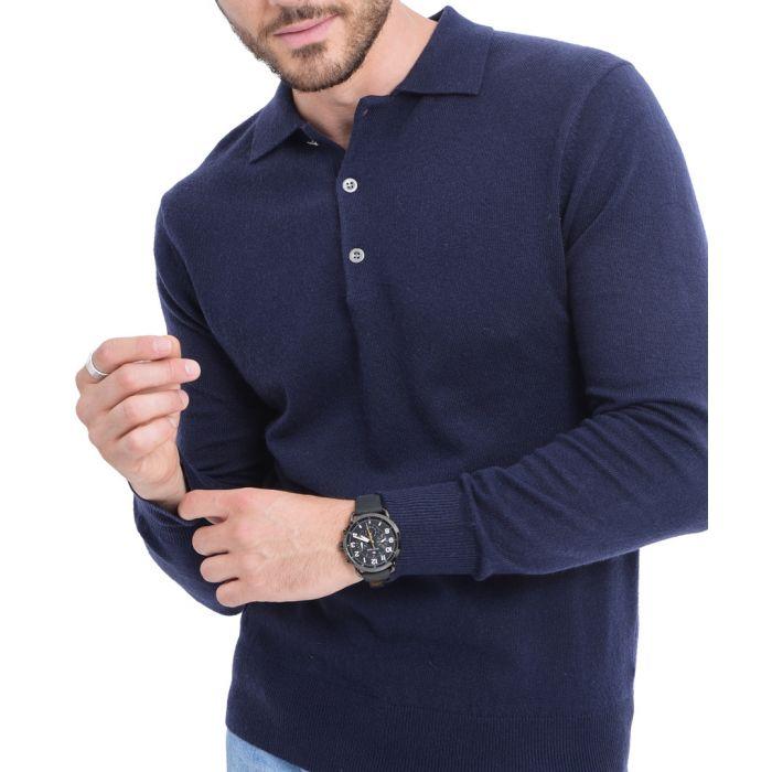 Image for Blue cashmere blend polo jumper
