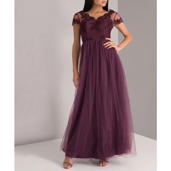 Image for Purple lace detail v-neck maxi dress