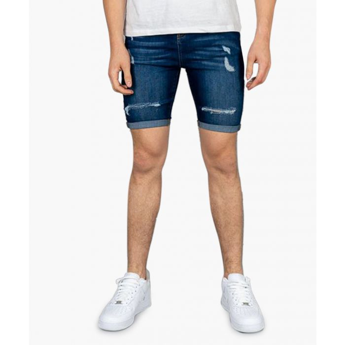 Image for Blue ripped denim shorts