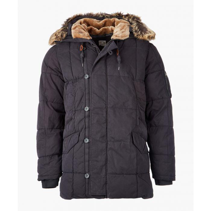 Image for Black hooded puffer jacket