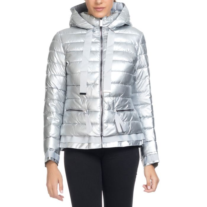 Image for Silver quilted puffer coat