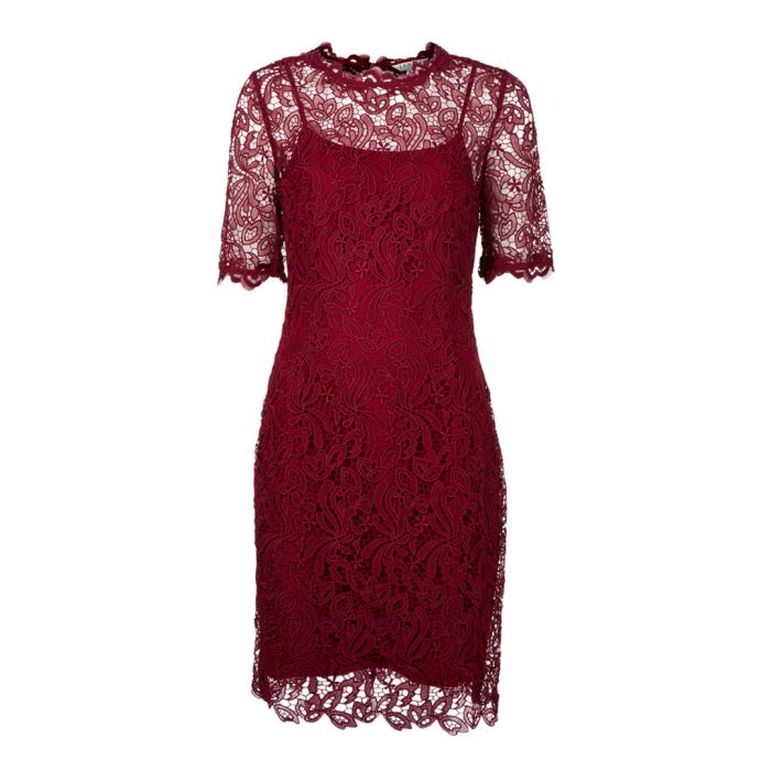 Image for Sasha ruby lace overlay midi dress