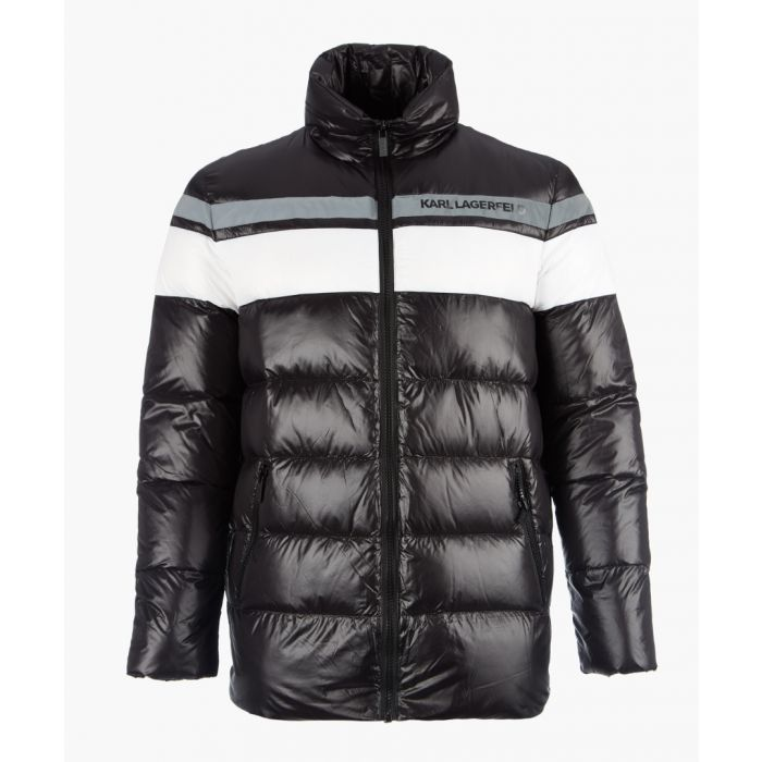 Image for Black colour block quilted coat