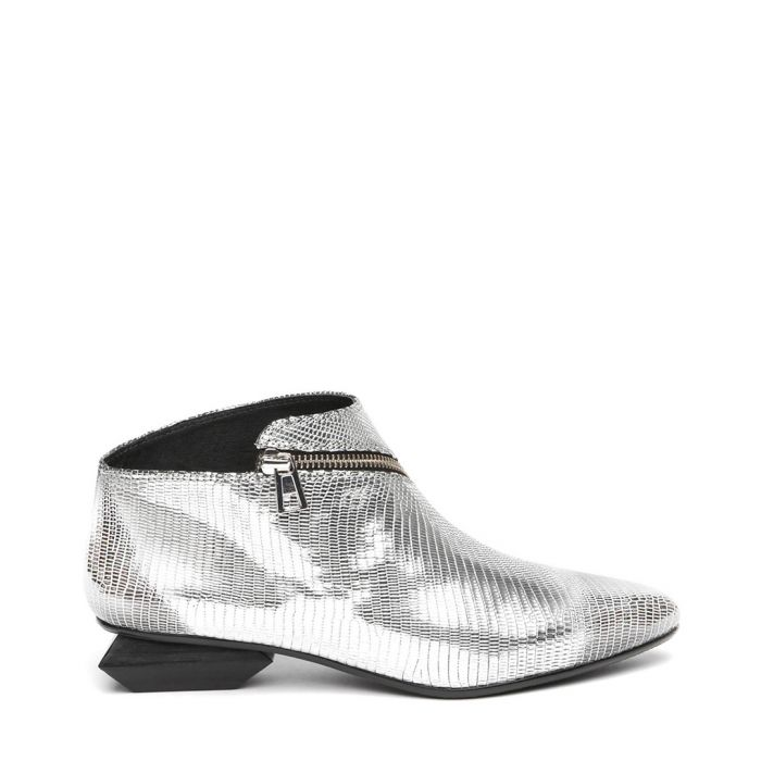 Image for Silver leather zip detail ankle boots