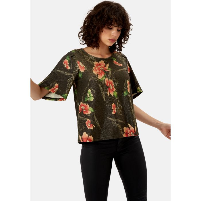 Image for Eunice's Closet Floral Whisper Top in Brown