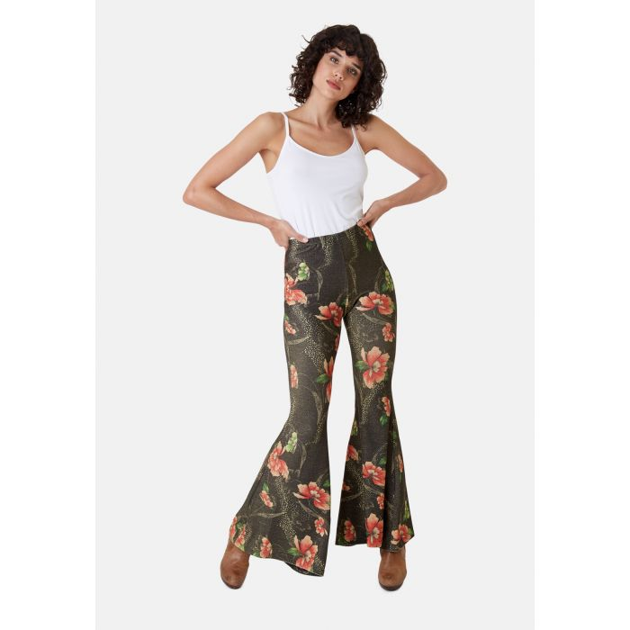 Image for Flaunt and Flare Metallic Floral Trouser in Brown