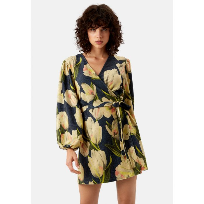 Image for Floral Wrap up and Go Mini Dress in Blue