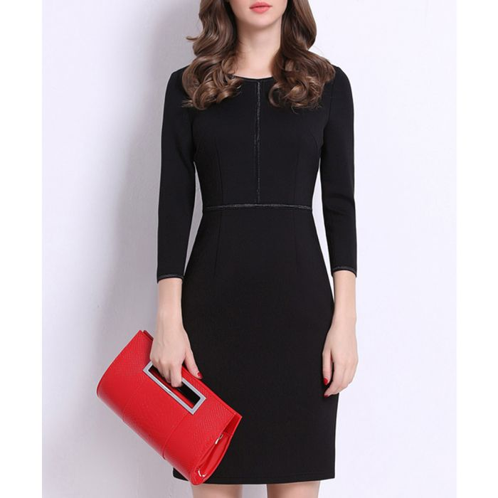 Image for Black trim detail knee-length dress