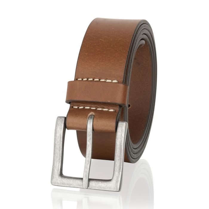 Image for Brown leather stitch detail belt