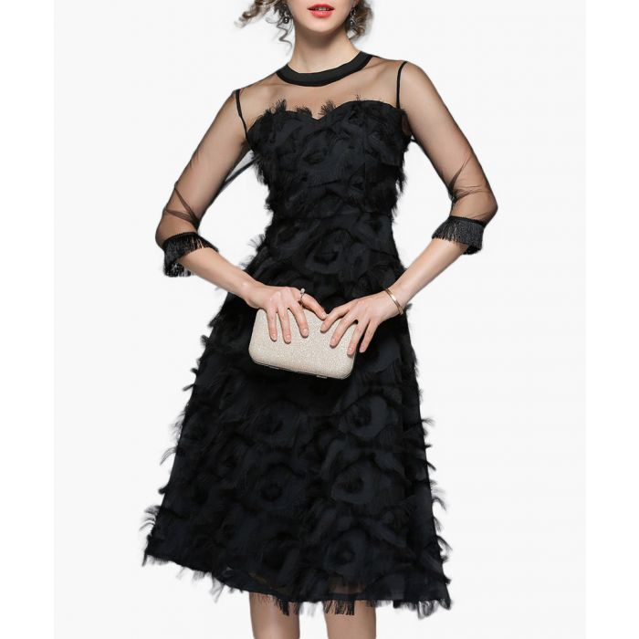 Image for Black sheer top textured skirt dress