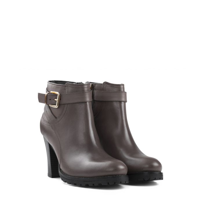 Image for Stone leather heeled ankle boots