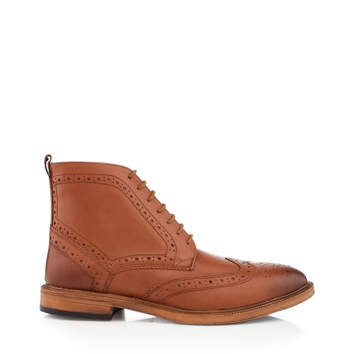 Image for Boston tan perforated ankle boots