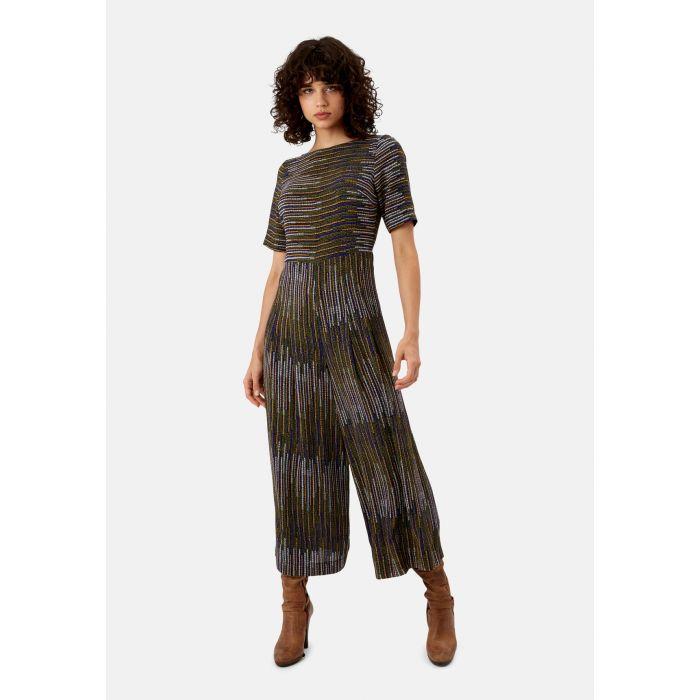 Image for Bianca mustard and blue pinstriped jumpsuit