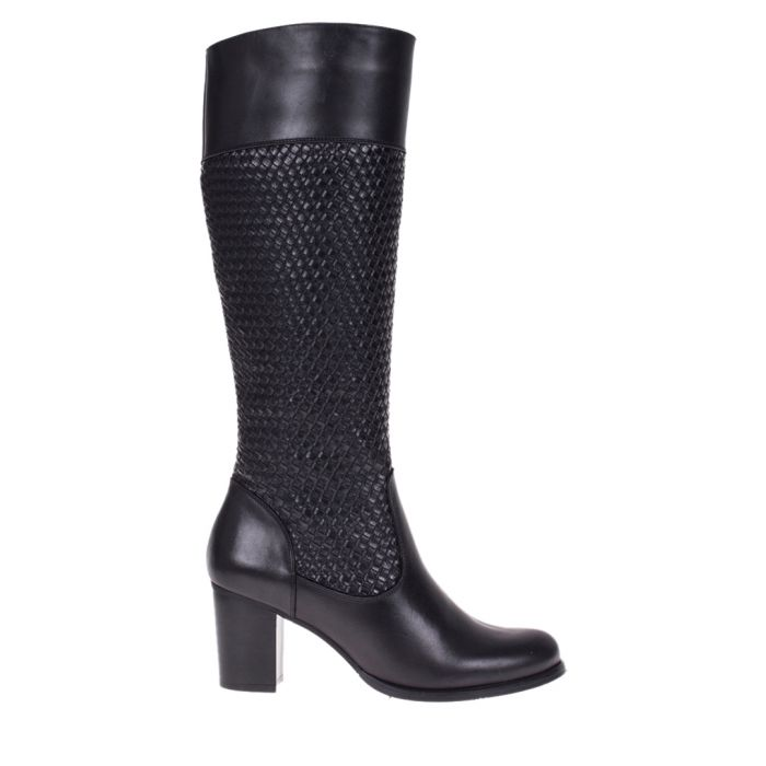 Image for Black leather woven boots
