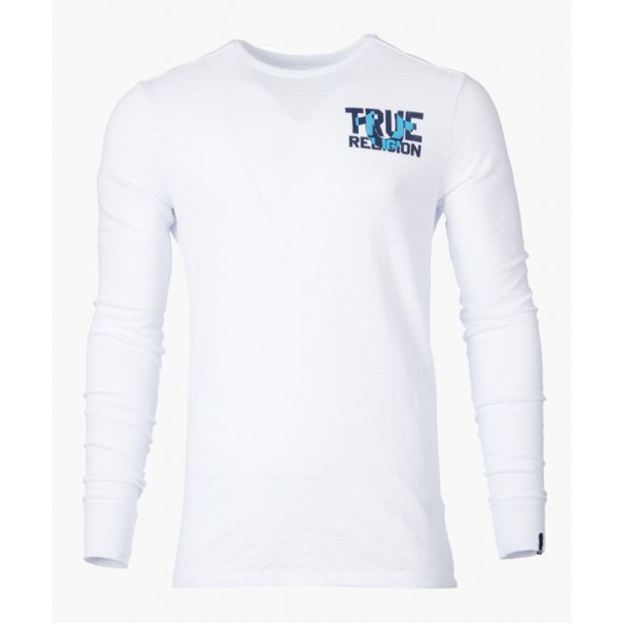 Image for White graphic logo long sleeved top
