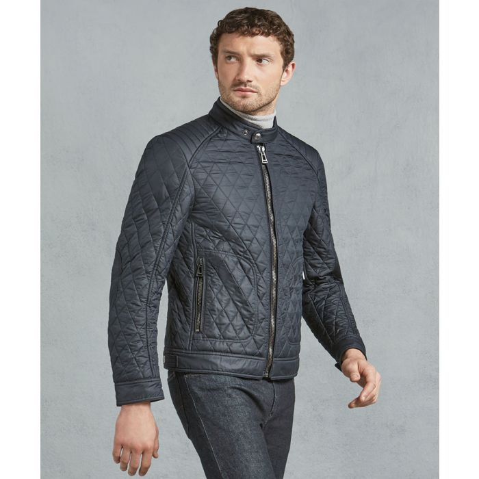 Image for Navy quilted zip-up jacket