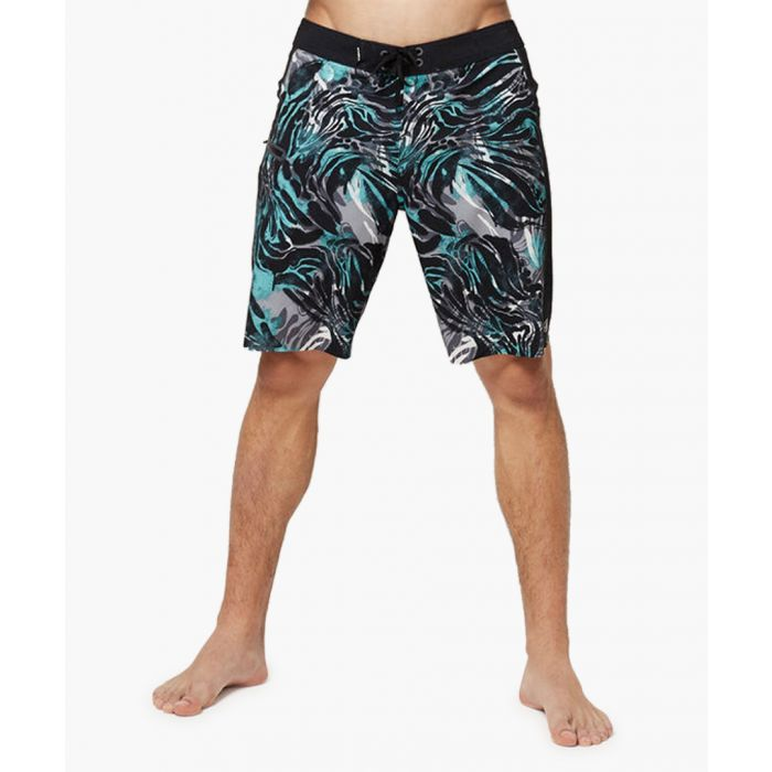 Image for Black abstract printed shorts