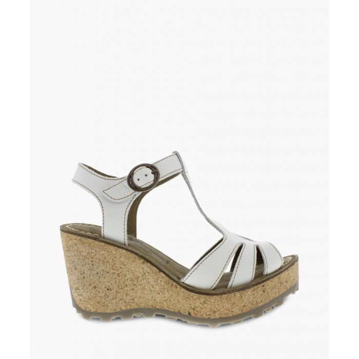 Image for Off-white leather wedge sandals