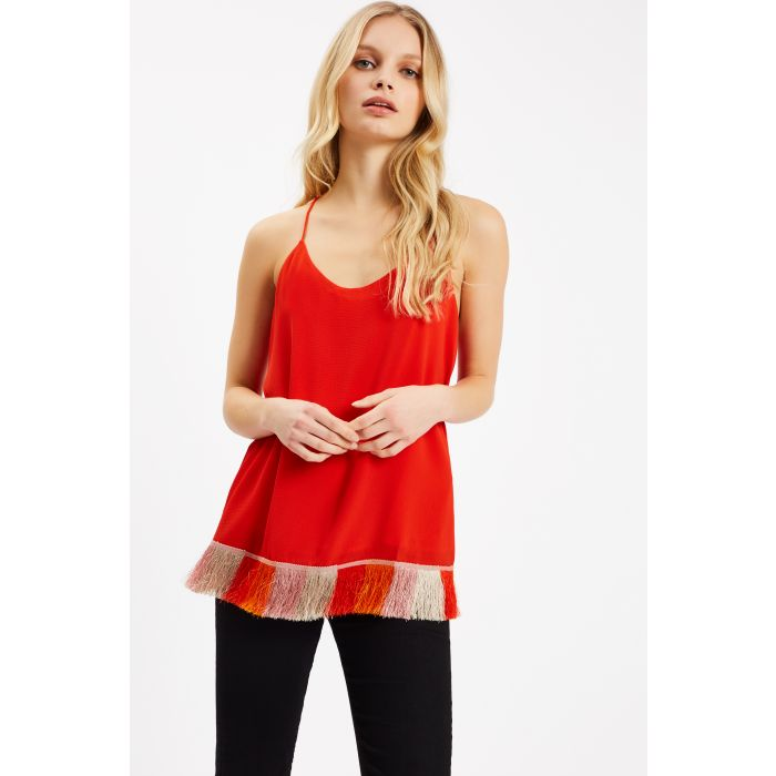 Image for Edge of Reason Fringed Red Camisole