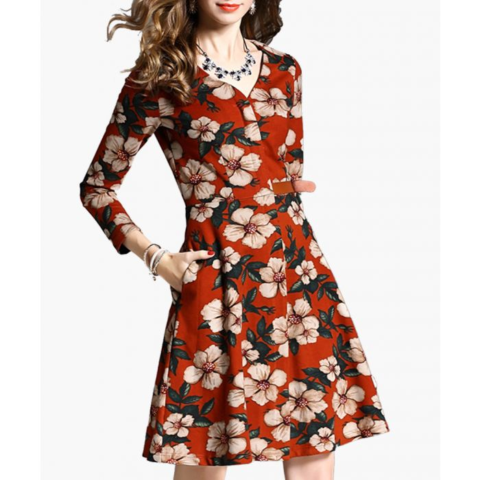 Image for Dark orange floral v neck dress