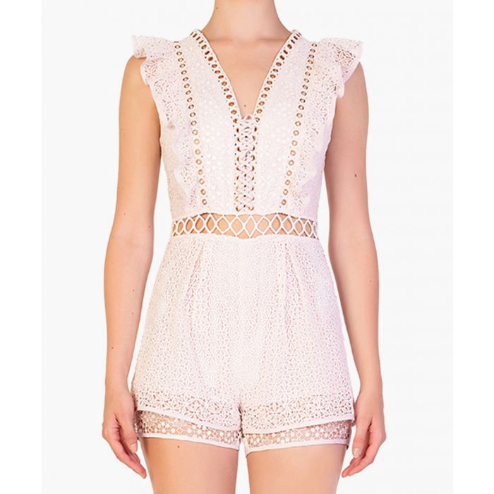 Image for Light pink sleeveless cut-out playsuit