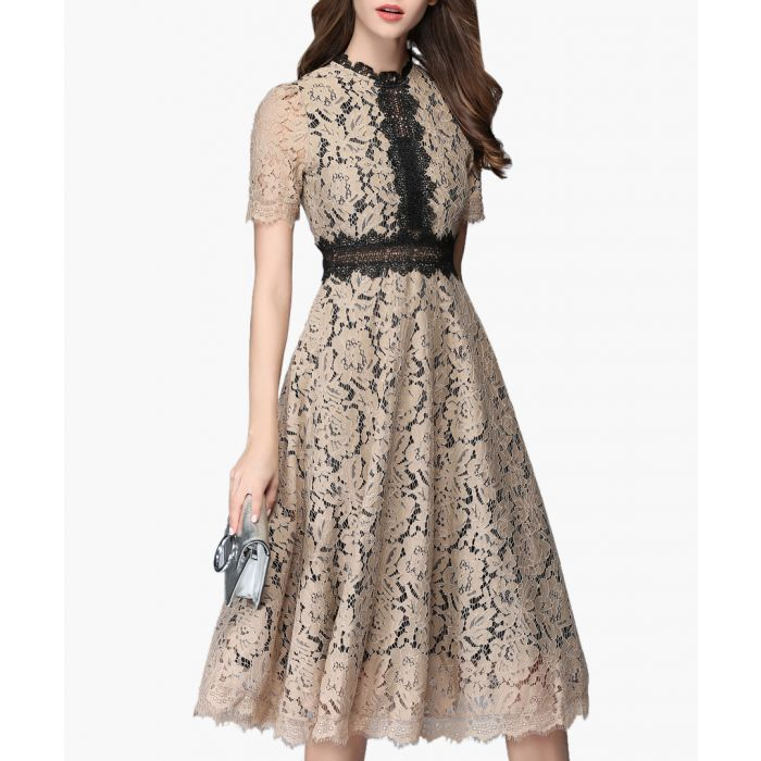 Image for beige & black lace dress