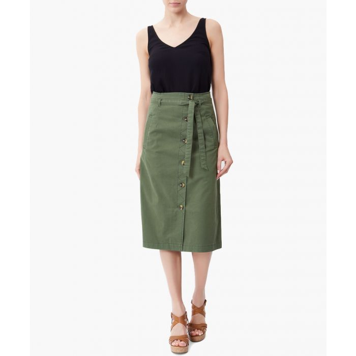 Image for Caitlin green cotton chino skirt