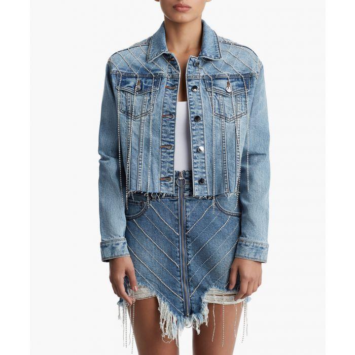 Image for cropped trucker fringe cotton skirt