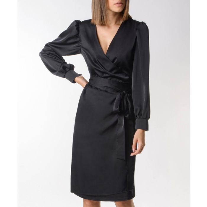 Image for Black tie-waist wrap dress