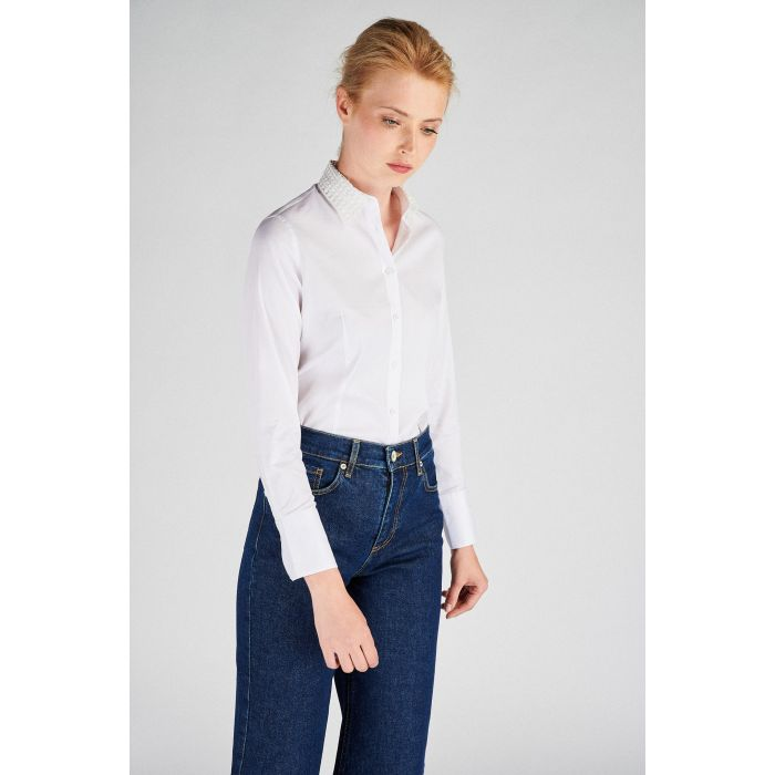 Image for Women s  Classic Slim Fit Shirt With Lace Collar