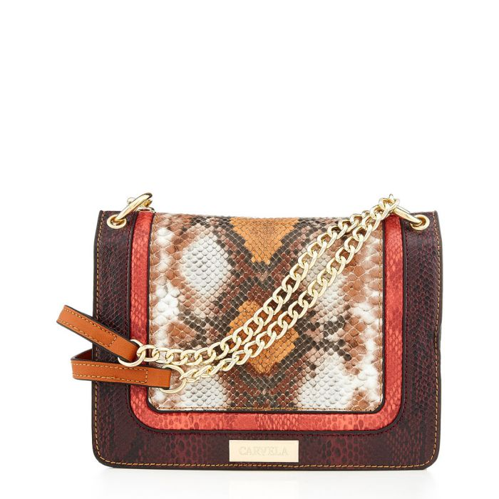Image for Flow brown snake-effect crossbody