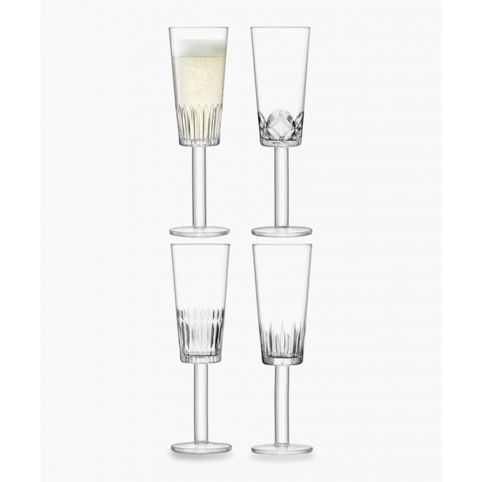 Image for 4pc Assorted-cuts champagne flute set