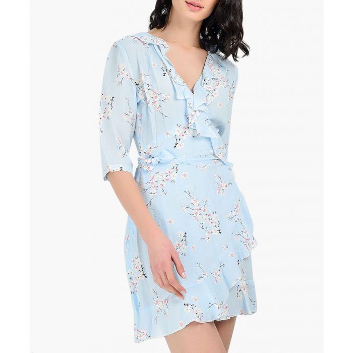 Image for Powder blue blossom wrap dress