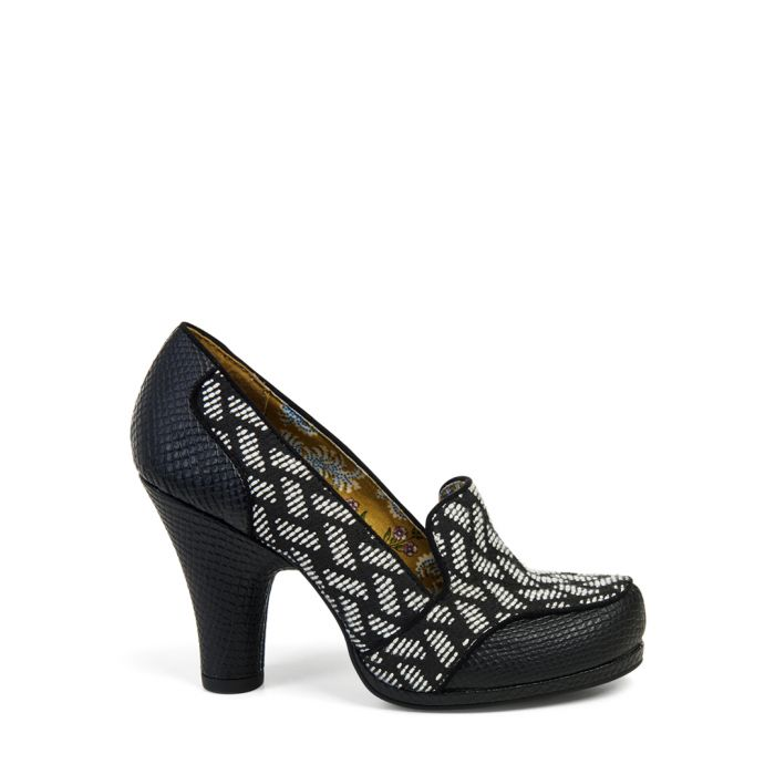 Image for Kaylee black & white heeled loafers