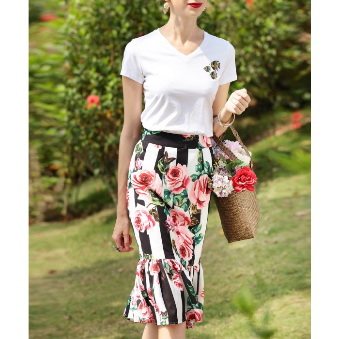 Image for White cotton blend print pencil skirt